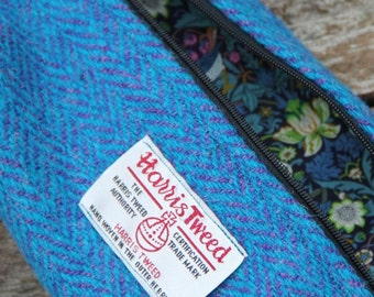 Harris Tweed, liberty of London, turquoise/purple herringbone, quilted makeup bag, pencil storage, accessory case