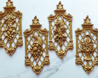Vintage Syroco Gold Wall Plaques