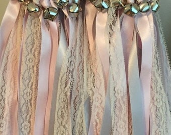 50 Wedding Wands/Wedding Ribbon Wands/Wedding Wand/Wedding Streamers/Lace, lt pink and lt silver