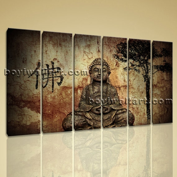 Large Canvas Buddha Picture Print Contemporary Home Decor Feng