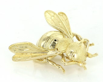 French Hallmarked Vintage Bumble Bee Insect Brooch Pin 18 Karat Gold Estate Jewelry