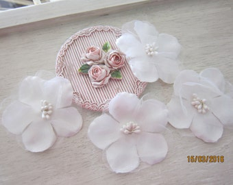Set of 4 pieces White Flowers/NF48-2 Layers Fabric Flowers/ Bridal Head Piece/Embellishment