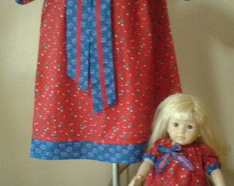 Custom matching girl and american girl doll matching peasant dresses or shirt tops 2t-6x fabric choices