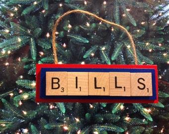 Buffalo Bills Scrabble Tiles Ornament Handmade Holiday Christmas Wood Rear View Mirror