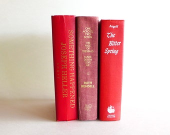 3 Vintage Red Filler Book Set, Hard Bound, Library Books by the Foot, Bright Red Books for Decor