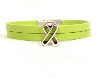 Non-Hodgkin's Lymphoma Bracelet - Lime Green Premier Leather Bracelet with Antique Silver Awareness Ribbon and Magnetic Clasp (5FA-205)