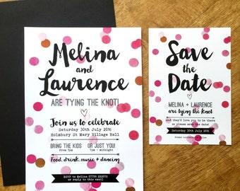 Colour Pop Confetti wedding invitation + matching stationery