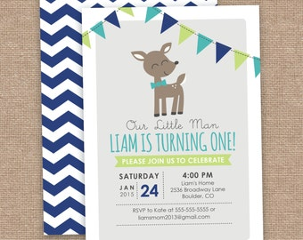 Boy Deer First Birthday Invitation, Chevron, Lime Teal Gray, DIY Printable