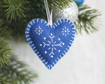 Blue Felt Heart, Snowflakes, Felt Heart, Christmas Ornament,Heart with Snowflakes,Heart Decoration,Xmas Tree Ornament,Xmas,Christmas Decor