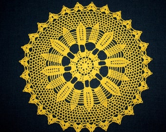 Yellow Crochet Doily, Lace Round Doily, Flower Doily, Cotton Doily, Table Topper, 12 inches