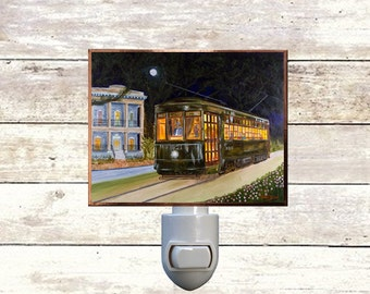 "Night Light, ""Avenue Streetcar"", New Orleans Streetcar,  Handmade, Copper Foiled"