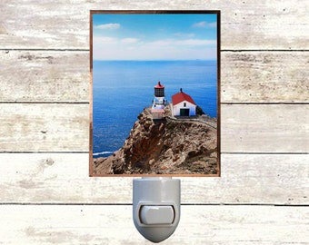 """Night Light ,""""Passing By"""", Point Reyes Lighthouse, Handmade, Copper Foiled"""