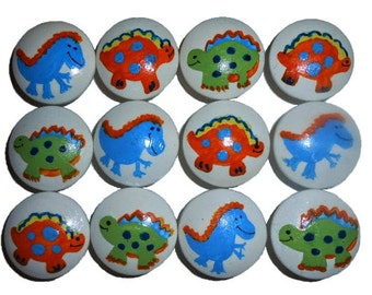 12 Custom Dinosaur Hand Painted Drawer Pulls Knobs
