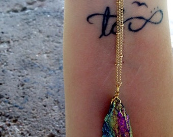 Bright rainbow stone necklace