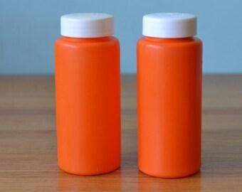 Retro orange salt and pepper shakers Japan