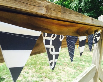 Nautical Navy and Off white Fabric Banner