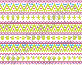 Lime cyan orchid and hot pink  owl tribal pattern craft  vinyl sheet - HTV or Adhesive Vinyl -  Aztec Peruvian pattern HTV333