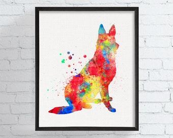 German Shepherd Art, German Shepherd Print, German Shepherd Watercolor, German Shepherd Painting, Dog Wall Art, Dog Lover Gift, Dog Painting