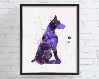 Doberman Art, Doberman Print, Doberman Watercolor, Doberman Painting, Sitting Doberman, Dog Wall Decor, Dog Lover Gift, Pet Lover Gifts