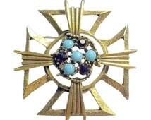 KRAMER Maltese Cross Pin / Vintage Brooch / Costume Jewelry / Vintage Cross / Maltese Brooch / Vintage Brooch