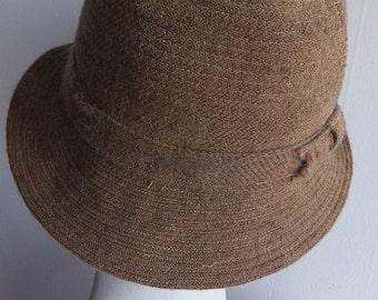 Vintage 1940s Brown Wool Bucket Hat