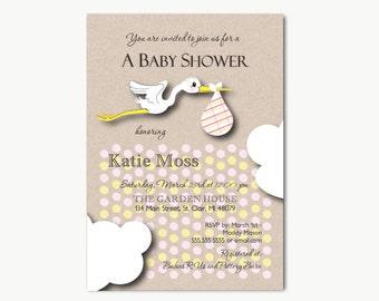 Stork | Baby Shower Invitations Printable DIY