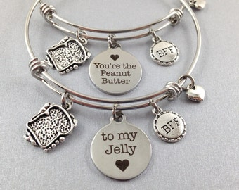 Best Friend Charm Bracelets, Peanut Butter Jelly Bangles, BFF Jewelry, Sandwich Bangle, PB and J, Best Friends Gift