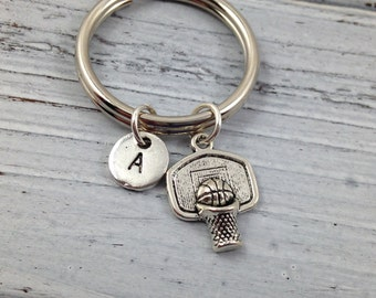 Basketball Keychain, Basketball Charm, Sports Keychain, Custom Keychain, Initial Keychain, Monogrammed Keychain