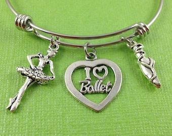 Ballet Charm Bracelet, I Love Ballet Charm Bracelet, Ballet Charm Bangle, Ballerina Charm, Ballet Slipper Charm, Stainless Steel Bangle