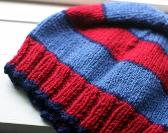 Bright Red and Blue Striped Hat