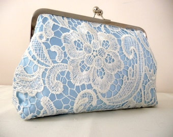Lace Bridal Clutch, Light Blue Satin Bridal Clutch with Floral Lace Overlay, 8 Inch Frame