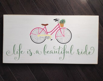 Life is a Beautiful Ride Shabby Chic Vintage Bicylce Sign by, IzzyB Vintage Me