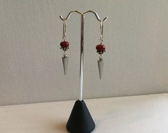 Handblown glass bead and spike Earrings, Lamp Work Red Bead Earrings