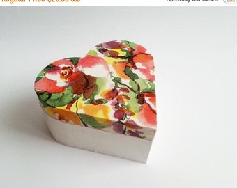 Flowers trinket heart box decoupage valentines keepsake box small wooden box