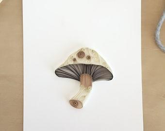 Brown and White Mushroom Wall Decor, Gardener Gift, Veggie Lover Gift, Mushroom Kitchen Art, Chef Gift, Vegetable Art Decoration