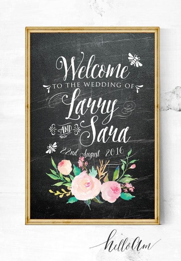 wedding sign - wedding entrance sign - wedding reception - wedding welcome sign -summer wedding - chalkboard wedding sign - wedding props