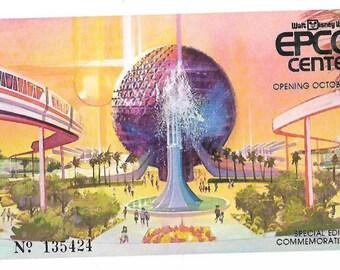 Walt Disney World Epcot Commemorative Ticket Stub, 1982