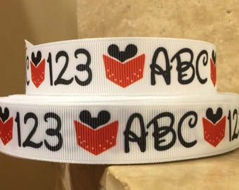 5 YDS Mickey ABC and 123 Ribbon