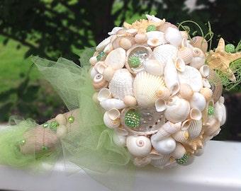 Sea Shell Bouquet, Shell Bouquet, Starfish Bouquet, Green Beach Bouquet, Coastal Bouquet, Destination Wedding Bouquet, Island Bouquet