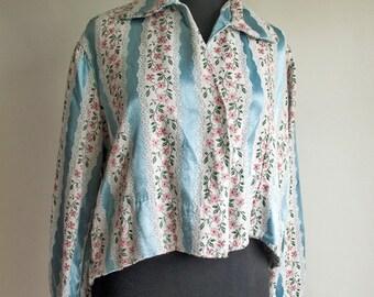 Vintage 1950s Blue Floral Make Do & Mend Swing Jacket UK 14-16