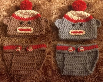 Sock Monkey Hat and Diaper Cover Set