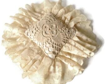 Antique Victorian Crochet Lace  Pincushion