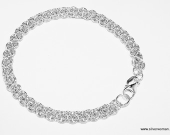 STERLING SILVER BRACELET in Open Round Design, solid 925