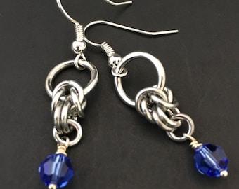 Something Blue Earrings - Blue Bridal Earrings - Blue Drop Earrings - Blue Dangle Earrings - Gift for Her - Chainmaille Earrings