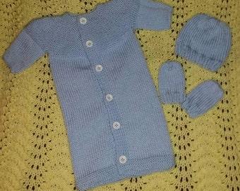 Hand Knit Newborn Boys Sleeper sack set