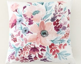 Floral Linen Pillow Cover, Serenity Bouquet Toss Cushion Cover, Unique Cushion Cover, Hand painted watercolor, Design and Handmade in Canada