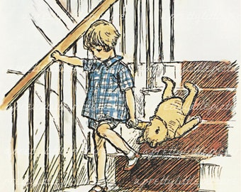 Classic Winnie the Pooh Printed on Watercolor Paper Christopher Robin with Pooh on the Stairs Fine Art Print Childs Baby Nursery Decor #1009
