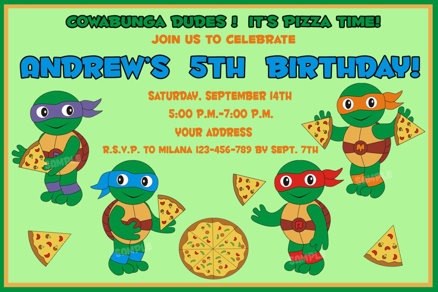 TMNT Birthday Invitation Ninja Turtles Birthday Invitation