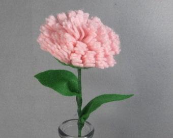 Pink Felt Carnation Stem Made-To-Order - Artificial Flower - Fake Flower  - Felt Carnation - Fake Carnation - Artificial Carnation