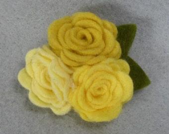 Felt Flower Brooch - Yellow Flower Pin, Felt Pin, Felt Brooch, Fabric Flower, Felt Flower Pin, Felt Jewelry, Rose Brooch, Rose Pin